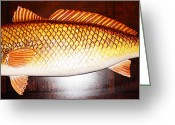 Fish Sculpture Greeting Cards - Red Fish 32 Inch Greeting Card by Jonathan Gatica