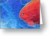 Fish Art Pastels Greeting Cards - Red Fish Greeting Card by Samantha Geernaert