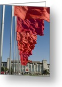 Chairman Mao Zedong Greeting Cards - Red Flags Flying Greeting Card by Phil Stone