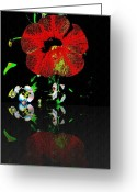 Vinca Flowers Greeting Cards - Red Flower Greeting Card by Leslie Revels Andrews