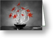 Fine_art Greeting Cards - Red Flowers Greeting Card by Louis Ferreira