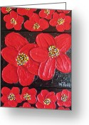 New York City Reliefs Greeting Cards - Red flowers Greeting Card by Merlene Pozzi