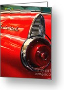 Transportation Digital Art Greeting Cards - Red Ford Thunderbird . Automotive Art Series Greeting Card by Wingsdomain Art and Photography