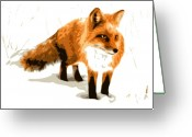 Hound Greeting Cards - Red Fox in Winter Greeting Card by Dean Caminiti