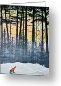 Pine Tree Greeting Cards - Red Fox Morning Hunt Greeting Card by Brenda Baker