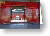 Complex Greeting Cards - Red Gates in Temple of Heaven Greeting Card by George Oze