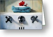 Sink Greeting Cards - Red Geranium and Old Sink Greeting Card by Linda Jacobus