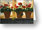 Florals Greeting Cards - Red Geraniums Basking Greeting Card by Linda Jacobus