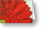 Gerbera Daisy Mixed Media Greeting Cards - Red Gerbera Greeting Card by Cathy Savels