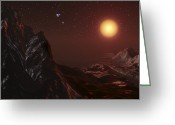 Swollen Greeting Cards - Red Giant Seen From A Planet, Artwork Greeting Card by Take 27 Ltd