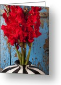 Vases Greeting Cards - Red glads against blue wall Greeting Card by Garry Gay