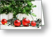 New-year Greeting Cards - Red glass balls with lights  Greeting Card by Sandra Cunningham