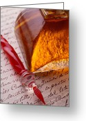 Note Greeting Cards - Red Glass Pen  Greeting Card by Garry Gay