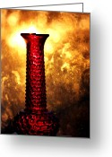 Vases Greeting Cards - Red Glass Vase At Sunset Greeting Card by Tracie Kaska