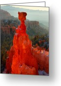 Thor Photo Greeting Cards - Red glow of the sunrise on Thors Hammer in Bryce Canyon Greeting Card by Pierre Leclerc