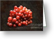 Round Mixed Media Greeting Cards - Red Grapes Greeting Card by Andee Photography