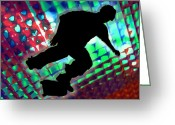 Teenager Tween Silhouette Athlete Hobbies Sports Greeting Cards - Red Green and Blue Abstract Boxes Skateboarder Greeting Card by Elaine Plesser