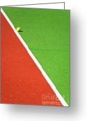 Vibrant Colors Greeting Cards - Red Green White Line and Tennis Ball Greeting Card by Silvia Ganora