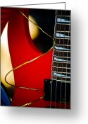 Hakon Greeting Cards - Red Guitar Greeting Card by Hakon Soreide