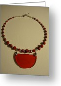 Sparkle Necklace Jewelry Greeting Cards - Red Happiness  Greeting Card by Jenna Green