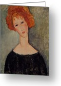Modigliani Painting Greeting Cards - Red Head Greeting Card by Amedeo Modigliani