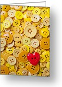 Disks Greeting Cards - Red heart and yellow buttons Greeting Card by Garry Gay