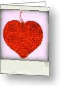 Hang Greeting Cards - Red heart Greeting Card by Bernard Jaubert