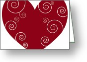 Swirls Drawings Greeting Cards - Red Heart Greeting Card by Frank Tschakert