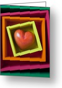 Bright Greeting Cards - Red Heart In Box Greeting Card by Garry Gay