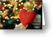 Heart-shape Greeting Cards - Red Heart On Piano, Sandusky Greeting Card by Ray Sandusky / Brentwood, TN