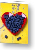 Still Life Greeting Cards - Red heart plate with blueberries Greeting Card by Garry Gay