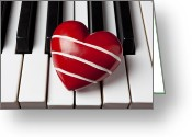 Piano Greeting Cards - Red heart with stripes Greeting Card by Garry Gay