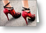 Straps Greeting Cards - Red Heels Greeting Card by Marion McCristall