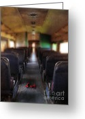 Train Car Greeting Cards - Red High Heel Shoes Left on Train Greeting Card by Jill Battaglia