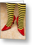 Stripes Greeting Cards - Red high heels andstockings Greeting Card by Garry Gay