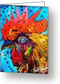 Live Music Greeting Cards - Red Hill Rooster Was Painted During Live Music Greeting Card by Neal Barbosa