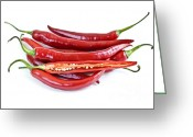 Spice Photo Greeting Cards - Red hot chili peppers Greeting Card by Elena Elisseeva