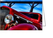 Street Greeting Cards - Red Hot Rod Greeting Card by Olivier Le Queinec