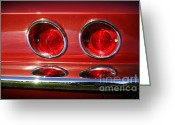 Lukemoore Greeting Cards - Red Hot Vette Greeting Card by Luke Moore