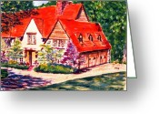 Clayton Painting Greeting Cards - Red house in Clayton Greeting Card by Horacio Prada