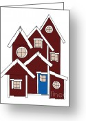 Red Drawings Greeting Cards - Red Houses Greeting Card by Frank Tschakert