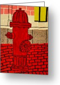 Cusack Greeting Cards - Red Hydrant Greeting Card by Sean Cusack