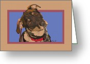Dog Portrait Digital Art Greeting Cards - Red II Greeting Card by Kris Hackleman