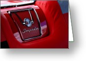 Red Car Greeting Cards - Red Impala Greeting Card by Kurt Golgart