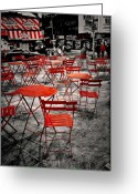 People Walking Greeting Cards - Red In My World - New York City Greeting Card by Angie McKenzie