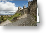 South France Greeting Cards - Red Jacket in Carcassonne Greeting Card by Robert Lacy