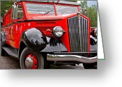 Glacier Greeting Cards - Red Jammer Tour Bus Glacier National Park Greeting Card by Karon Melillo DeVega