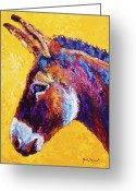Burro Greeting Cards - Red Jenny Greeting Card by Marion Rose