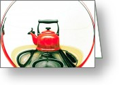 Hob Greeting Cards - Red kettle Greeting Card by Tom Gowanlock