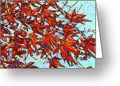 Red Leaves Painting Greeting Cards - Red Leaves Greeting Card by Nadi Spencer